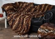 Тёмная норка,  меховое покрывало на диван (искусственный мех)