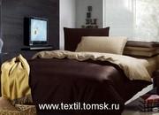 Однотонное постельное бельё без рисунка,  простыня на резинке.